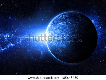Blue Sunrise over Lone Planet - Elements of This Image Furnished By NASA  - stock photo