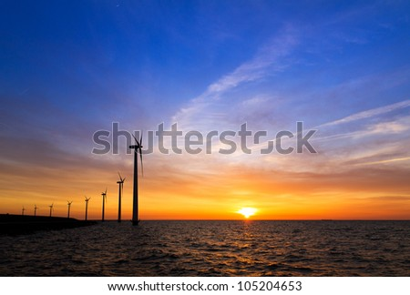 Blue sunset turbines