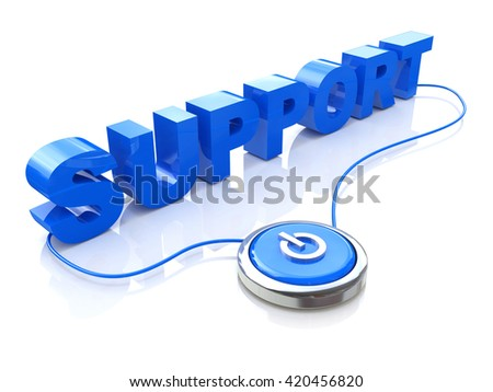 Blue support word and button in the design of the information related to the Internet and technology. 3d illustration - stock photo