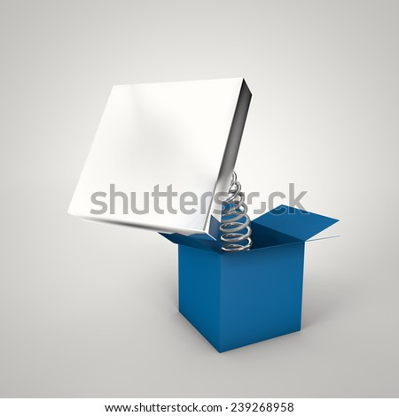 Blue Suprise Box with Chrome Plate for Text Message - stock photo