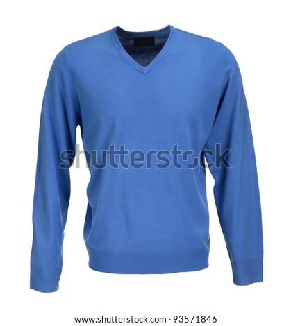 blue sweater isolated on white background - stock photo