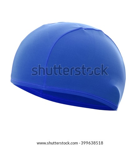 Blue swim cap isolated on white