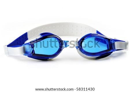 blue swim goggles isolated on white - stock photo