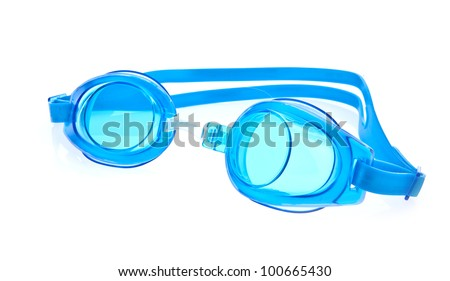 Blue swimming goggles on white background