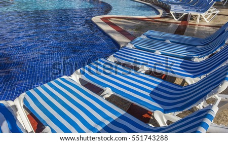 blue Swimming pool in Cancun, Riviera Maya, Mexico