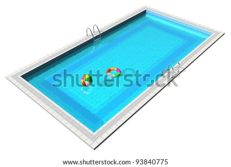 Swimming Pool Beach Ball Background rectangular swimming pool blue water isolated stock photo