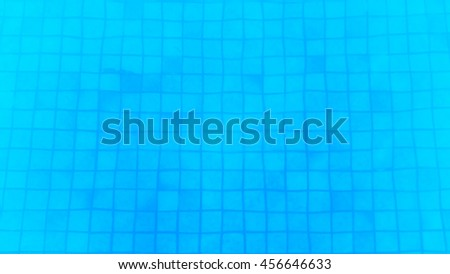 Blue swimming pool with water, Abstract background blue patterned Squares.