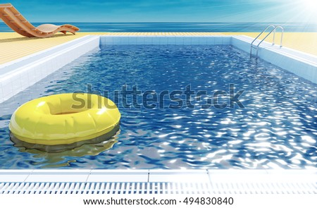 Blue swimming pool with yellow life ring floating on water surface, beach lounger on wooden flooring, sun deck on sea view for summer vacation, 3D rendering