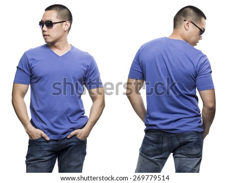Blue t-shirt on a young man isolated front and back-Studio Shot. - stock photo