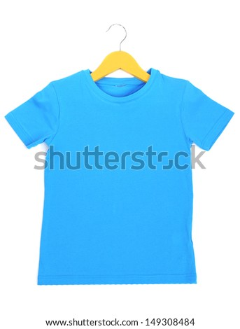 Blue t-shirt on hanger isolated on white - stock photo