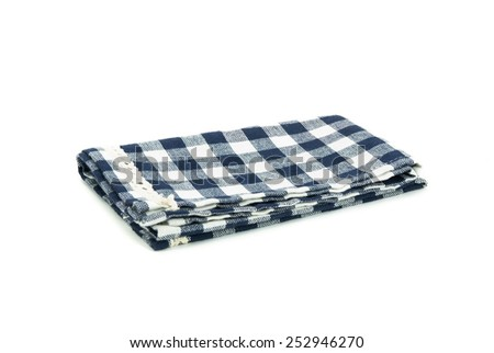 blue table cloth isolated on white background. - stock photo