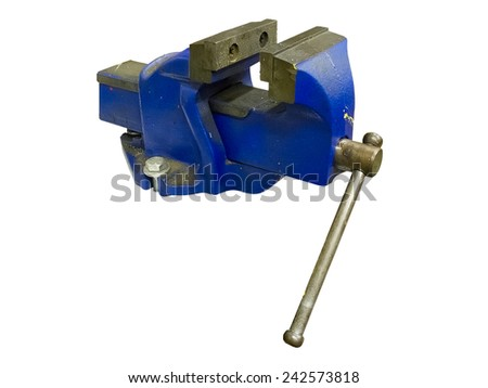 Blue table vise isolated on white background - stock photo