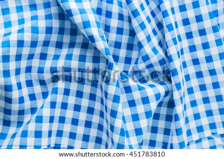 blue tablecloth on white background