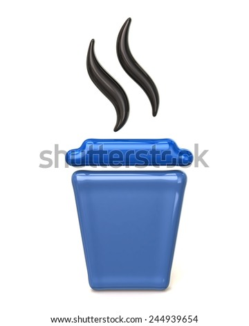 Blue takeaway coffee cup icon - stock photo