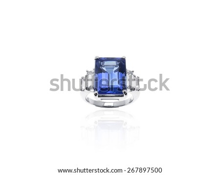 Blue Tanzanite and Baguette Diamonds Jewelry Ring in platinum - stock photo