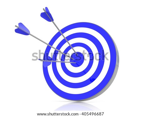 Blue target with 3 arrows in the bullseye, 3d illustration