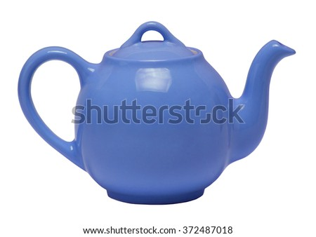 Blue teapot isolated against a white background - stock photo