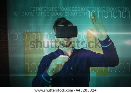 Blue technology design with binary code against man wearing virtual glass