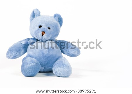 Blue teddy bear - stock photo