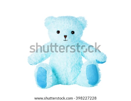 Blue teddy bear isolated on white background.  - stock photo
