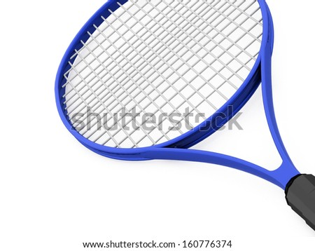 Blue tennis racket on white background