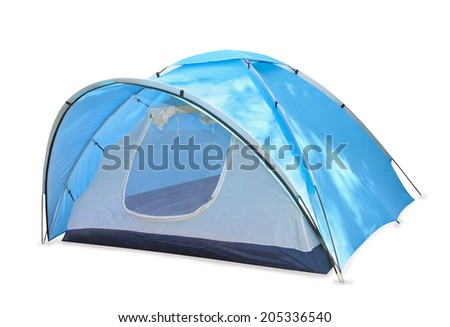 Blue tent isolated over white - stock photo