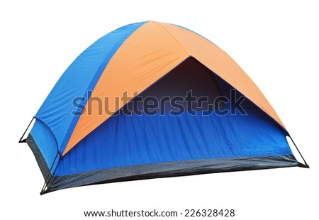blue Tent on the white background - stock photo