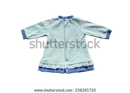 Blue terry cloth baby dress on white background - stock photo