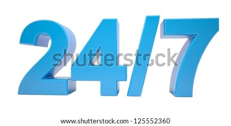 Blue text. Around the clock seven days a week. Isolated render on a white background - stock photo