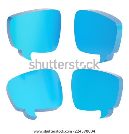 Blue text bubble dimensional shapes isolated over the white background, set of four foreshortenings - stock photo