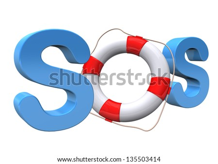 Blue text SOS with lifebelt on the white background. - stock photo