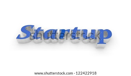 Blue text Start up, raised, with silver edges