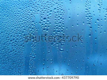 Blue texture with water drops on glass