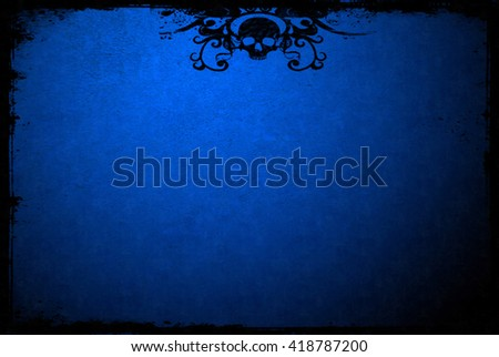 Blue textured surface with grunge edges and skull pattern