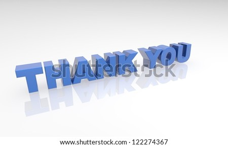 blue thank you 3d letters on a white background with a white reflection.