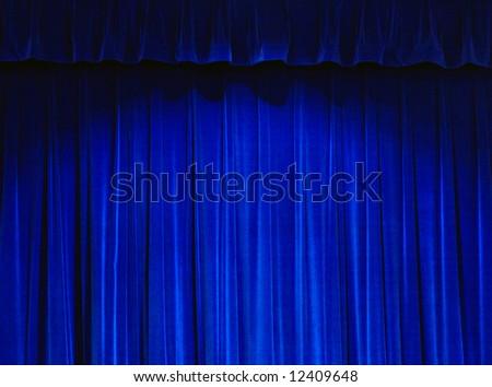 Blue Theater Curtain - stock photo