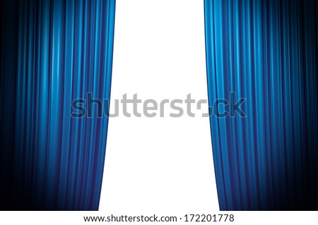 Blue Theater Curtain closing white background - stock photo
