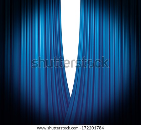 Blue Theater Curtain opening white background - stock photo