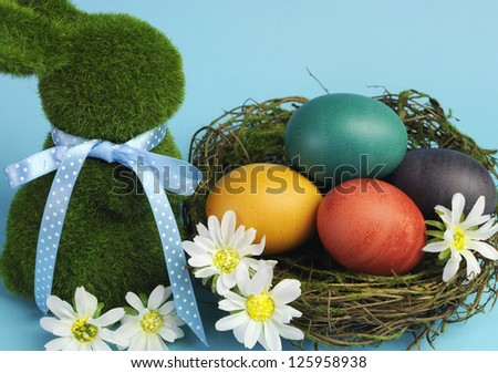 Blue theme Happy Easter scene still life with grass bunny rabbit with rainbow color eggs in a nest with white daisies. Closeup. - stock photo