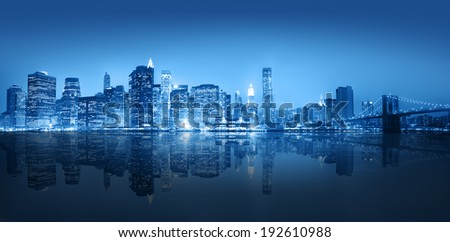 Blue themed panoramic view of New York city. - stock photo