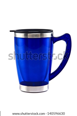 Blue thermos isolated on white background - stock photo
