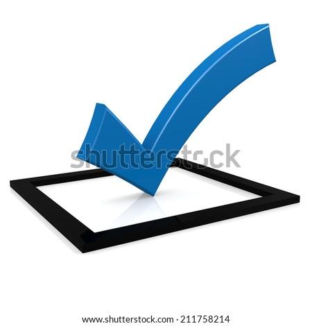 Blue tick - stock photo
