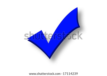 Blue tick isolated over a white background - stock photo