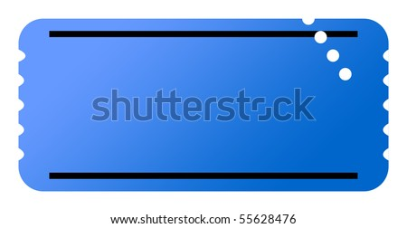 Blue ticket with copy space, isolated on white background. - stock photo