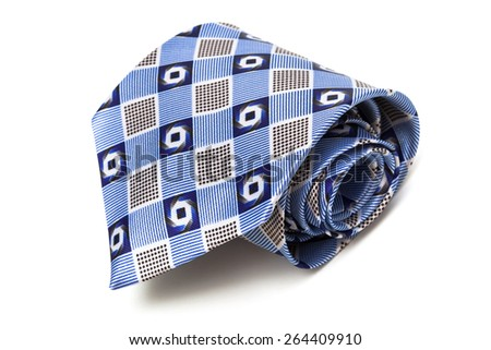 blue tie coiled on a white background - stock photo