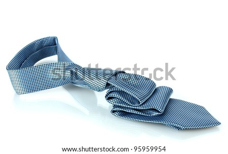Blue tie isolated on white - stock photo