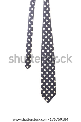 Blue tie with white polka. Isolated on a white background - stock photo