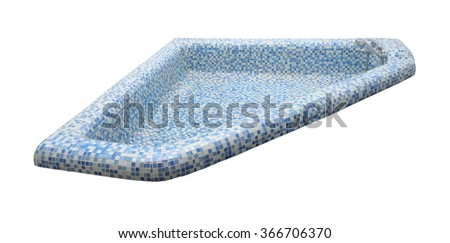 Blue tile mosaic pool and faucet on white background.