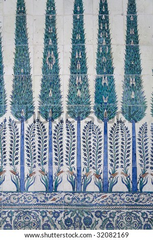 Blue tile on the wall in Topkapi palace in Istanbul, Turkey - stock photo