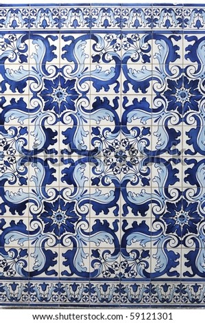 Blue tiles detail of Portuguese glazed - stock photo